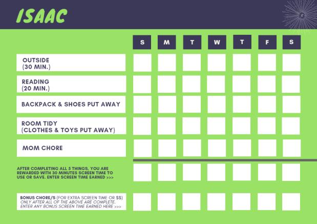 First Chore Chart